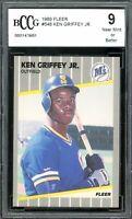 1989 Fleer #548 Ken Griffey Rookie Card BGS BCCG 9 Near Mint+