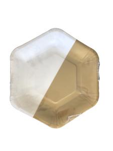 Bronze Matte Gold & White Hexagonal PAPER PLATES 23cm 10pcs