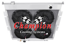 """2 Row 1"""" Perf Radiator,12"""" Fans for 1983 - 1994 Ford F-Series Diesel V8 Eng"""