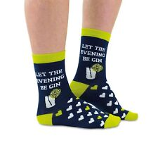 Let The Evening Be Gin Ladies Socks Novelty Gift With Hearts by Cockney Spaniel