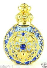 Bohemian Vintage Perfume Bottle Aqua Blue Glass Blue Faceted Crystals Gold Tone