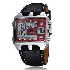Neuf Rouge LED aiguilles digital Quartz Homme Cuir Bracelet Pile Montre KW57
