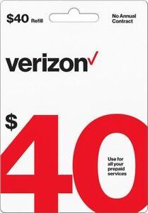 Verizon Wireless- $40 Refill,  Credit Airtime Verizon Prepaid  Loaded Direct