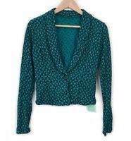 Metalicus Cardigan Jacket One Size Green Black Merino Wool Blend Long Sleeve