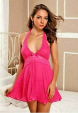 Pink Babydoll Lingerie Halter Dress Satin Ribbon Valentine's Day One Size BD1045
