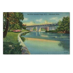 Vintage 1940 Linen Postcard: Red River Between Fargo ND & Moorhead MN