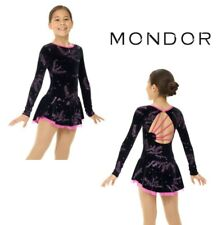 MONDOR Pink/Black Glitter Mesh Figure Skating Competition Dress Many Sizes