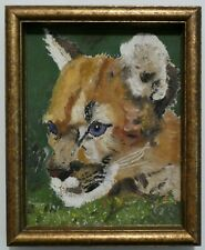 Vintage Animal Oil Painting - Cougar