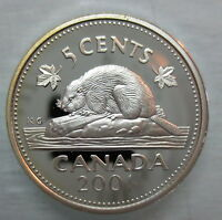 2001 CANADA 5 CENTS PROOF SILVER NICKEL HEAVY CAMEO COIN