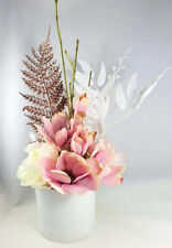 Artificial Pink & Ivory Flower Arrangement with Rose Gold Fern in White Vase