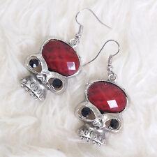 Cool Womens Punky Anti-Silver Red Oval Bead Skull Charm Chandelier Hook Earrings