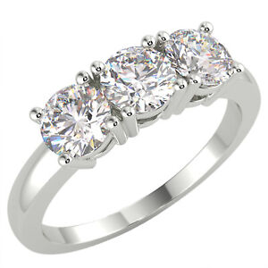 0.55 Ct Round Cut VS1/F Diamond Trilogy Engagement Ring 14K White Gold