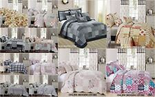 Beautiful Floral Vintage Patchwork  Quilted Bedspread & 2 Pillow Shams