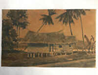 Malaysian Scene With Pam Trees Hut Water Colour Signed Charton