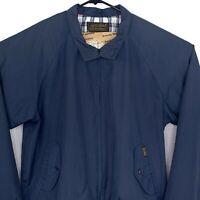 Vintage Eddie Bauer Harrington Jacket Mens Large L Blue Baracuta 80s Plaid Lined
