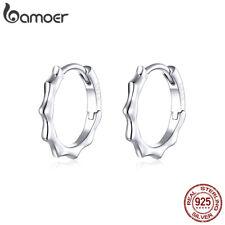 BAMOER Solid Simple line clip Earrings S925 Sterling Silver For Women Jewelry