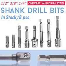 "8 Pcs Socket Adapter Set Driver Hex Shank Impact Drill Bits 1/4"" 3/8"" 1/2"" Inch"
