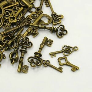 30 Grams Antique Bronze Tibetan Random Shapes & Sizes Charms (Key)