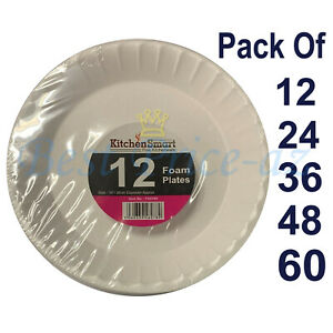 """White Polystyrene Foam Disposable Plates 10"""" 26cm Catering Party Supplies Food"""