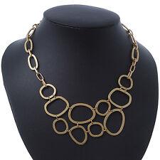 Matt Gold Oval Link, Geometric Necklace - 36cm L/ 5cm Ext