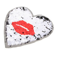Love Heart Kiss Lips Embroidery Sequin Patch Clothes Applique Sewing Decor