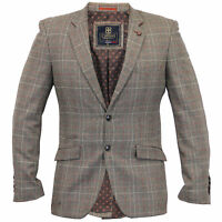 Mens Blazer Cavani Coat Wool Mix Checked Suit Jacket Slim Fit Formal Wedding New