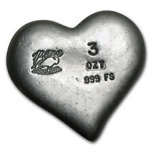 3 oz Silver Heart - Bison Bullion - SKU #80460