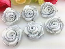 DIY 10-100 PCS silver Glitter Satin Ribbon Rose Flower Wedding Appliques,Craft