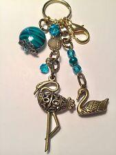 Water Birds Purse Charm Key Chain FOB aqua/gold handmade USA 900