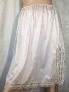 Vintage ivory Half Slip skirt Midi pencil 60s lace Blue ribbon Van Raalte slit L