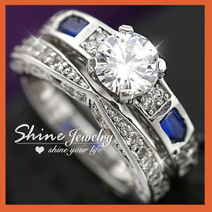 18K WHITE GOLD GF ANTIQUE BLUE SAPPHIRE LAB DIAMOND ANNIVERSARY WEDDING RING SET
