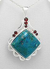 "Garnet Chrysocolla Pendant Red Solid Sterling Silver 10.64g 1.85"" 18"" Box Chain"