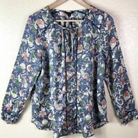 Lucky Brand Women's L Large Blue Pink Green White Floral Long Sleeve Blouse