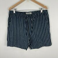 The Academy Brand Mens Shorts Size 36 Blue Striped Linen Blend Elastic Waist