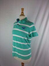 Hollister Women's Light Green & White striped short sleeve polo rugby shirt XL