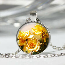 Yellow Rose photo Tibet silver dome Glass Cabochon Necklace chain Pendant #565