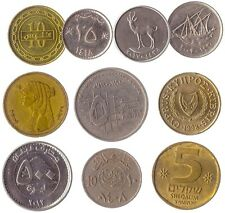 10 Different Coins From Countries In The Middle East. Old Collectible Coins