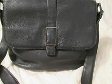 Authentic CLASSIQUES ENTIER Black Pebbled Leather Messenger Shoulder Bag Purse