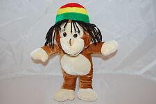 """Jamaican Rastafari Monkey Chimp Brown Tan Dredlocks Red Green Plush 11"""" Toy Cute"""