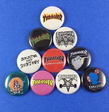 "Thrasher 1"" Button Pin Lot Skateboarding Magazine"