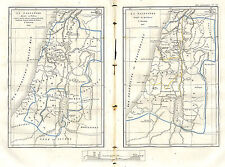 ISRAEL PALESTINE TRIBUS & PROVINCES ANCIENNE CARTE LOUIS DUSSIEUX OLD MAP 1868