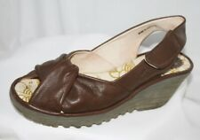Fly London Yakin Brown Leather Wedge Sandals Shoes Size 5