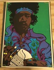 Vintage Black Light Poster Jimi Hendrix Caricature Pin-Up 1970's Psychedelic