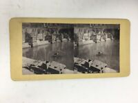 Photo Stereoview Card The Roman Bath Italy Antique