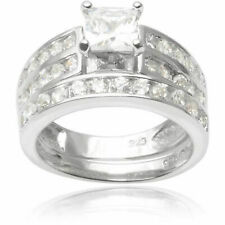925 Sterling Silver 2-1/4 Ctw Cubic Zirconia Solitaire with Accents Ring