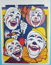 "Vtg Original Circus Clown Poster Unissued NOS 1950s Tommy Scott Circus 42"" x 28"""