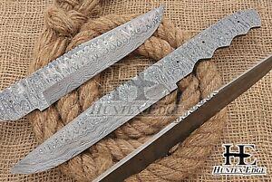 HUNTEX Custom Hand-Forged Damascus Steel 320 mm Long Full Tang Blank Blade Knife