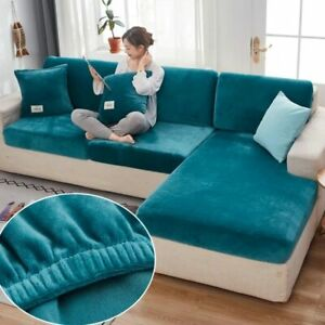 Velvet Sofa Seat Cover Cushion Cover Thick Soft Stretch 1//4seat L-shaped Seat