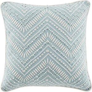 Croscill Willa Embroidered Chevron Square Throw Pillow in Soft Aqua