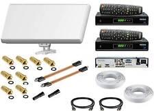 SET Sat Anlage 2 Teilnehmer Selfsat H30D2 Antenne +HD Receiver + Medialink FTA